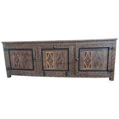 Large Brown Moroccan Hand-Carved Tribal Pattern Wood Long Credenza or Sideboard