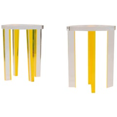 Yellow Lucite End Table