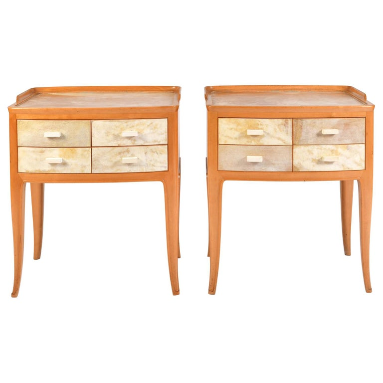 Pair of Italian 1950s Marbled Parchment Bedsides