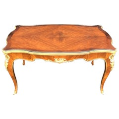 Wonderful French Marquetry Bronze Ormolu Mounted Cocktail Coffee Table Glass Top