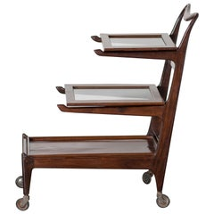 Brazilian Bar Cart in rosewood by Carlo Hauner and Martin Eisler