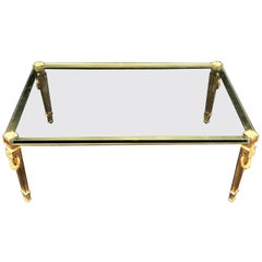 Wonderful French Guerin Bronze Neoclassical Glass Cocktail Bagues Coffee Table