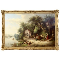Large Oil on Canvas English Landscape Painting