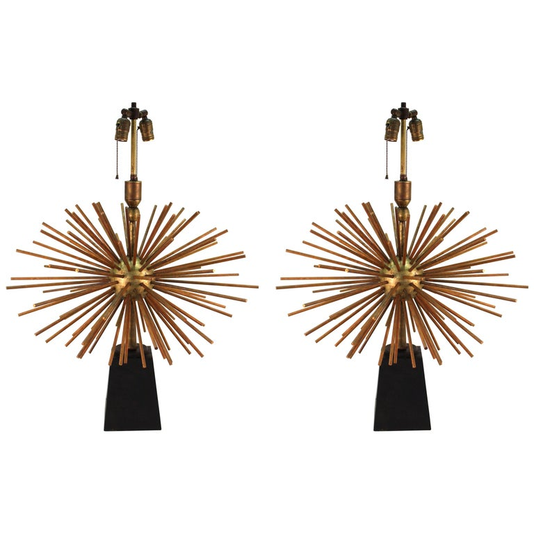 Arturo Pani Attributed Mexican Mid-Century Modern Starburst Table Lamps
