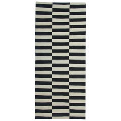 Afghan Runner Rugs, Black and White Kilim Rugs, Striped Stair Runner from Afghan