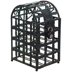 Vintage 20th Century French Green Metal Wine Cage Rack