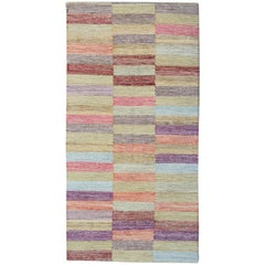 Modern Kilim Runner Qashqai Design, Geometrical Carpet Runner, Stair Runner Rugs