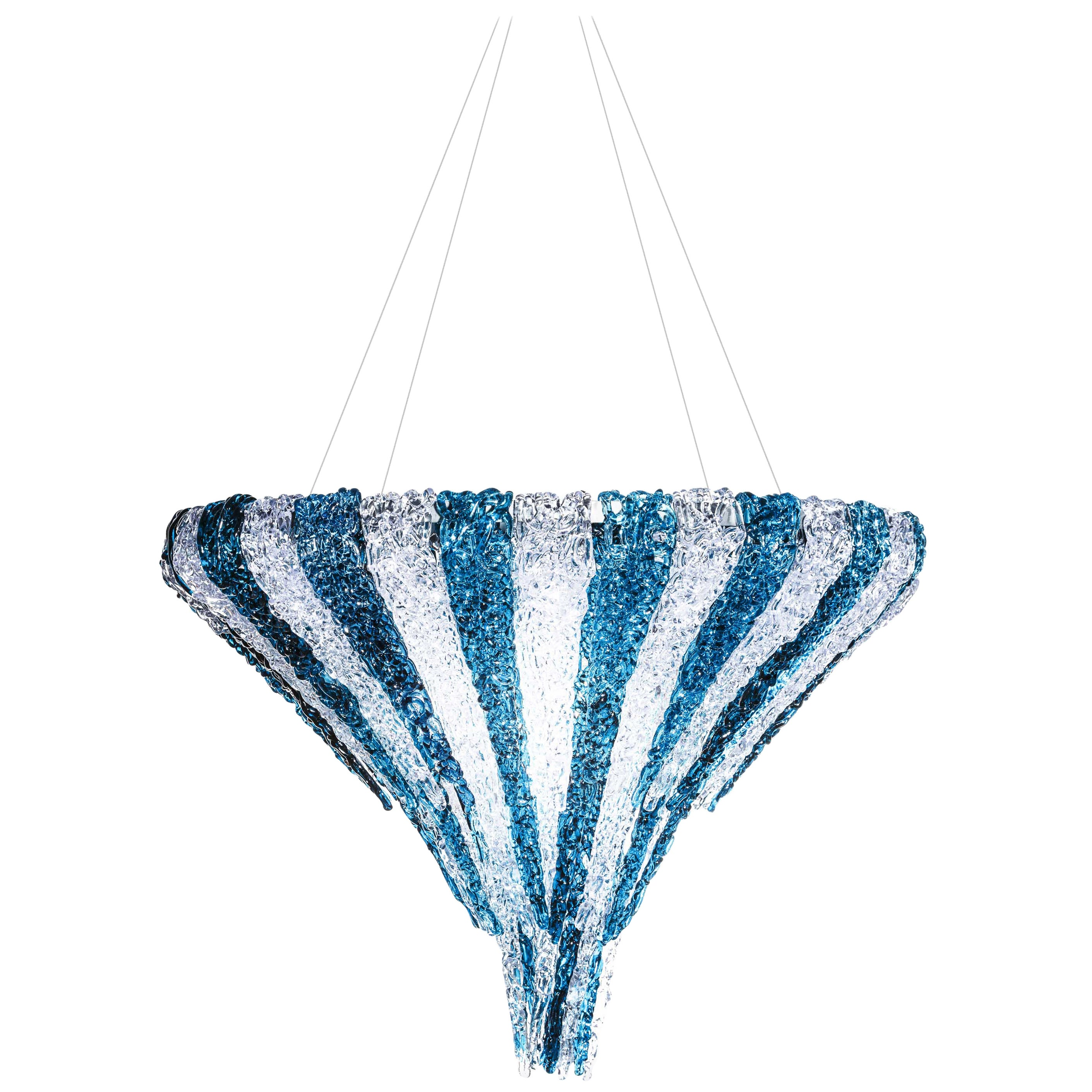 Vertigo Chandelier in Transparent and Blue Resin by Jacopo Foggini