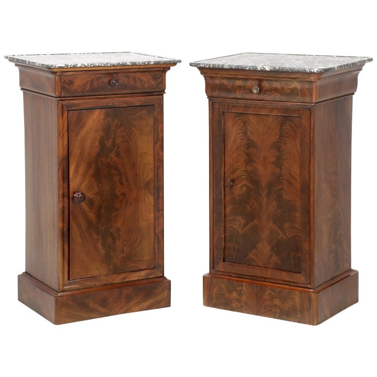 Antique French Mahogany, Louis Philippe Style Nightstands or End Tables For Sale