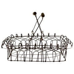 American Folk Art Wire Basket with Wooden Handles