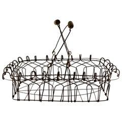 American Folk Art Wire Basket with Wooden Handles