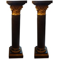 Pair of Antique French Neoclassical Style Black Marble and Gilt Pedestals