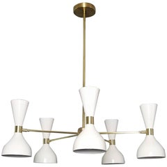 """Ludo"" Round Chandelier in White Enamel, Brass by Blueprint Lighting, NYC"
