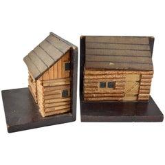 1930s Folk Art Log Cabin Bookends, a Pair