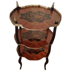 19th Century French Napoleon III Three-Tier Marquetry Étagère, circa 1860