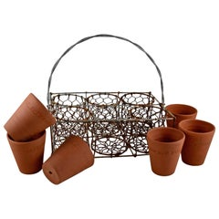 English Divided Wire Basket Caddy with Terracotta Staffordshire Herb Pots