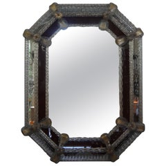 Octagon Venetian Mirror with Etched Border
