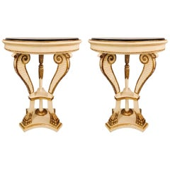 Pair of Parcel Paint and Gilt Decorated Marble-Top Demilune Console Tables