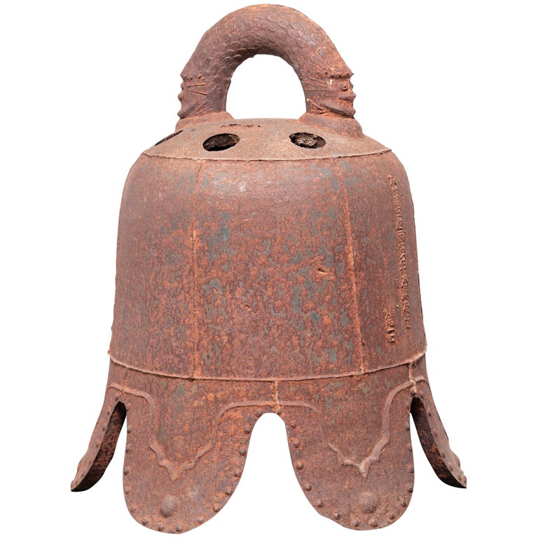 Early 17th Century Chinese Ming Iron Bell with Dragon Handle For Sale