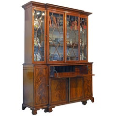 Noble Early 19th Century George III Mahogany Breakfront Secretary Bookcase