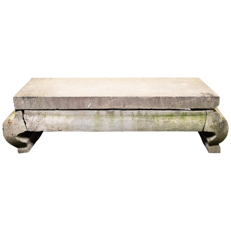 Grand 17th Century Chinese Limestone Table For Sale