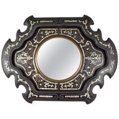 19th Century French Mother-of-Pearl Inlay and Wood Wall Mirror
