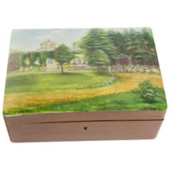 Modernist Hand-Painted Wood Box, circa 1930s