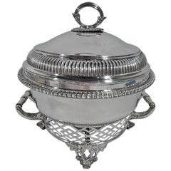 New York Victorian Georgian Sterling Silver Chafing Dish in Stand