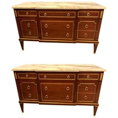 Pair of Maison Jansen Style Russian Neoclassical Fashioned Commodes / Sideboards