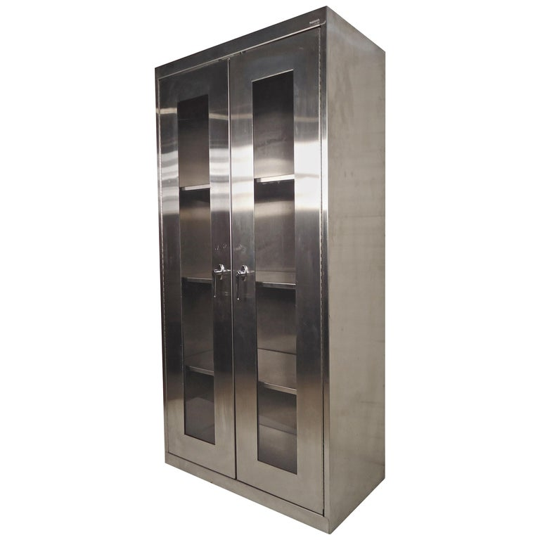 Stainless Steel Tall Kitchen Cabinet: Machine Age Style Tall Cabinet At 1stdibs
