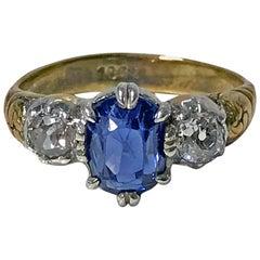 19th Century 18 Karat Sapphire and Diamond Ring, English, circa 1850
