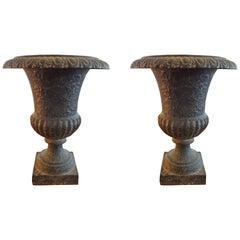 Pair of 19th Century French Iron Campana Urns