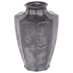 Early 20th Century Japanese Octagonal Zinc Vase
