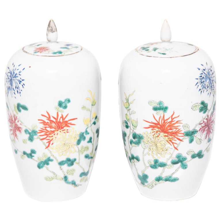 Pair of Petite Chinese Ginger Jars with Spider Chrysanthemums For Sale