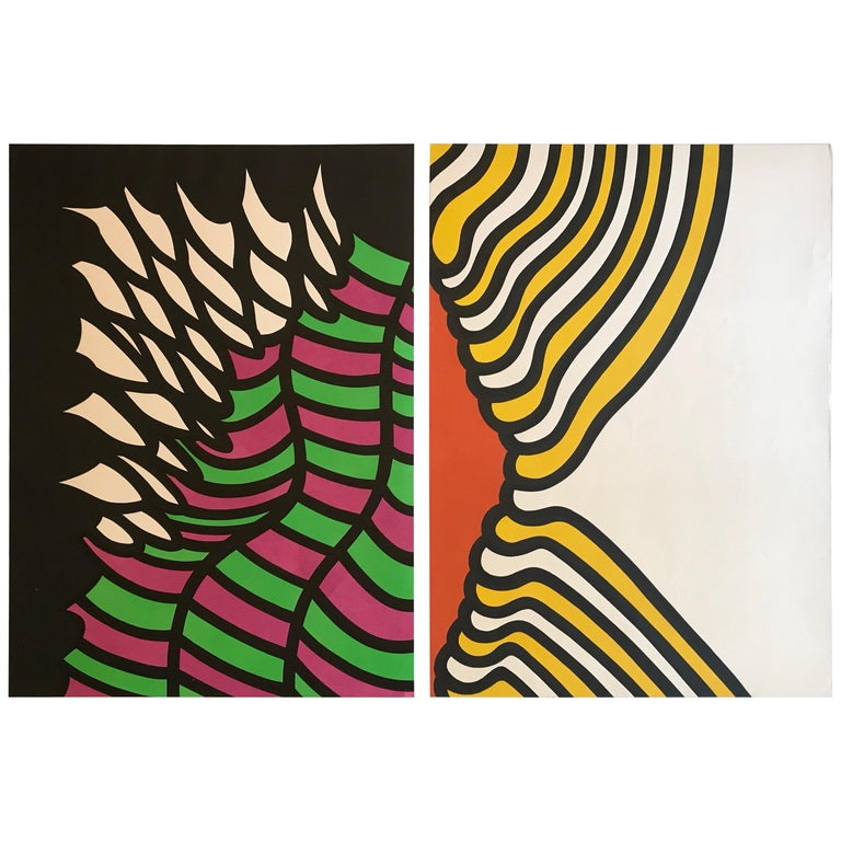 Pair of Nicholas Krushenick Pop Art, Lithographs in Colors, 1965 For Sale