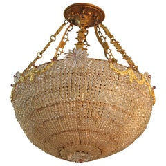Hollywood Regency Style Pendant with Beaded Basket and Gold-Tone Accents
