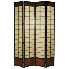 Midcentury Asian Style Four-Panel Shoji Screen, circa 1970