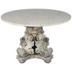 19th Century Acanthus Leaf Painted Table with Marble Top