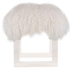 Icelandic Sheepskin Lucite Bench