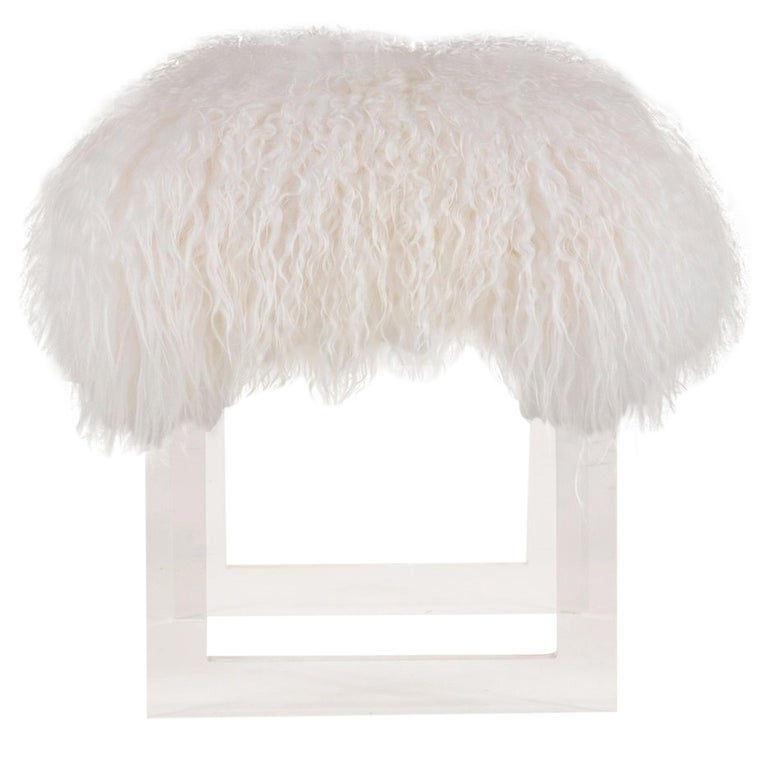 Icelandic Sheepskin Lucite Bench For Sale