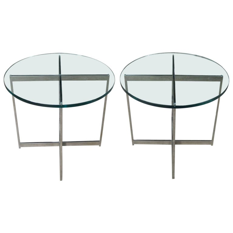 Pair of Chrome X-Base Round Glass Top Side Tables after Mies van der Rohe For Sale