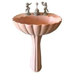 Midcentury Sherle Wagner Pink Porcelain Pedestal Sink