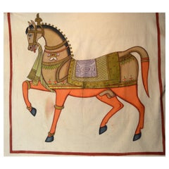 Large 19th Century Mughal Indian Colorful Gilded Horse Painting on Cloth
