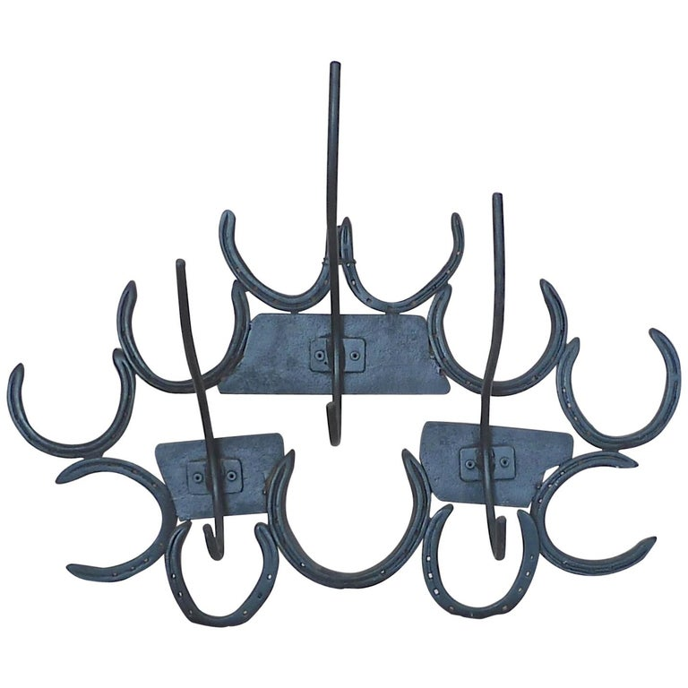 French 1970s Wrought Iron Coat and Hat Wall Rack with Six Hooks