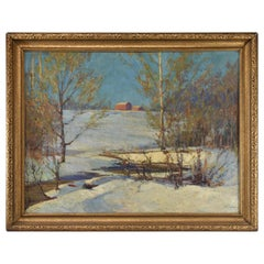 Winter Impressionist Landscape Barn Scene Oil on Canvas Painting  Harold Walker