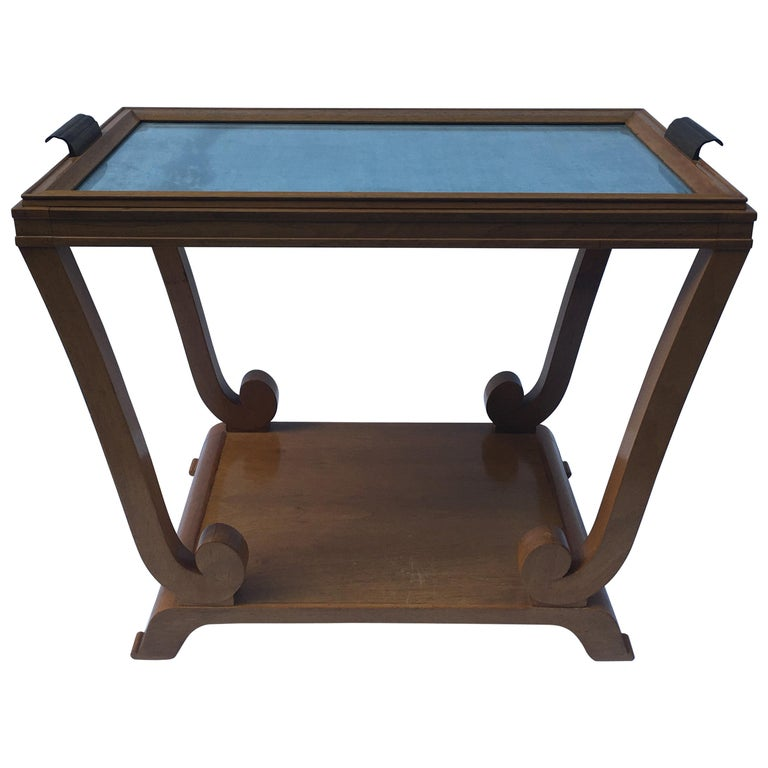 Jules Leleu, Art Deco, Two-Tiered Side Table with Removable Tray, France For Sale
