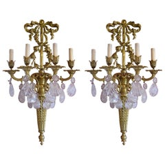 Pair of Antique Rock Crystal and Gilt Bronze Sconces