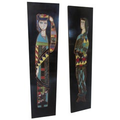 Harris Strong King and Queen Tiles on Black Lacquered Frame