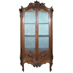 Museum Quality Antique Carved Walnut Vitrine