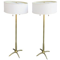 Stiffel Pair of Brass Floor Lamps